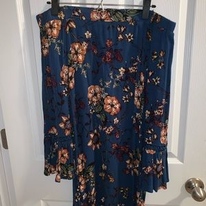 Beautiful Off-The-Shoulder Blue Foral Fall Dress